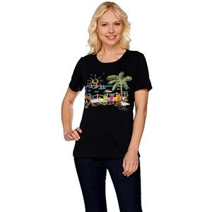 Quacker Factory 1X Black Summer Scenes Embroidered Short Sleeve T-shirt