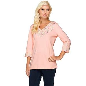 Quacker Factory Size 3X Candy Pink Lacey Scallop Embroidered 3/4 Sleeve Top