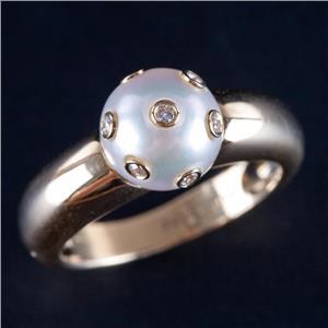 18k Yellow Gold Round Cut Akoya Pearl Solitaire Ring W/ Tube Set Diamonds .11ctw