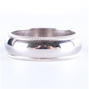 14k White Gold Traditional Milgrain Style Half Round Wedding Band / Ring 5.8g