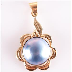 14k Yellow Gold Round Cabochon Cut Cultured Dyed Mabe Pearl Pendant 4.1g