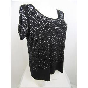 Calvin Klein Size 2X Jet Black Sparkle All Over Short Sleeve Embellished Top