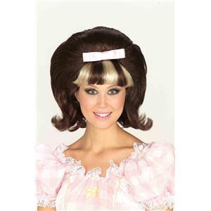 60's Princess Hairspray Flip Wig Brown Bouffant with Blonde and Brown Bangs