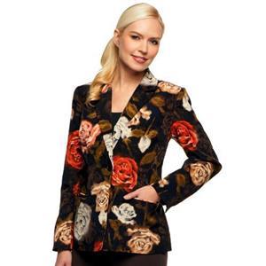 Susan Graver Size 1X Orange Flower Peachskin Polyester Single Breasted Blazer