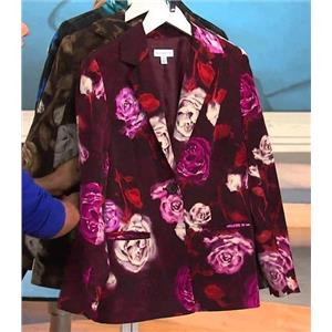 Susan Graver Size 1X Pink Flower Peachskin Polyester Single Breasted Blazer