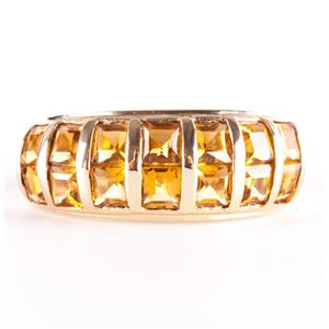10k Yellow Gold Square Step Cut Citrine Channel Set Cocktail Ring 2.10ctw