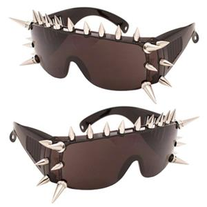 Large Spike Black Frame Dark Tinted Sunglasses with Major Spikes