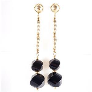 "18k Yellow Gold Spiral Bead Cut ""AAA"" Onyx Long Dangle Earrings 8.8g"