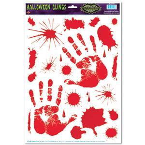 Bloody Halloween Window Clings Stickers Handprints
