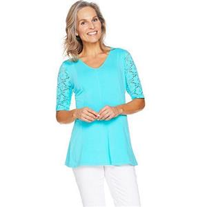 Denim & Co Size 1X Clear Aqua Blue Fit & Flare Stretch Lace Elbow Sleeve Top