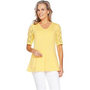 Denim & Co Size 2X Cornsilk Yellow Fit & Flare Stretch Lace Elbow Sleeve Top