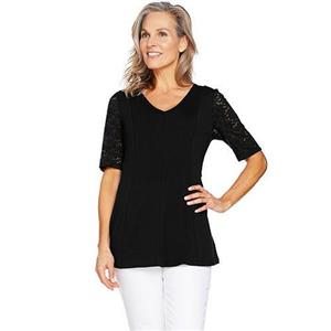 Denim & Co Size 1X Black Fit & Flare Stretch Lace Elbow Sleeve Top