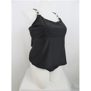 Sand n Sun Size 3X Black Swimsuit with Cross over Straps and Rings