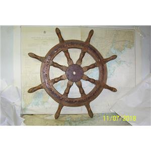 "Boaters' Resale Shop of TX 1810 1754.02 WOODEN 34"" SHIP'S WHEEL- 1"" TAPERED HUB"