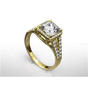2 CT RADIANT CUT E/VS1  ENHANCED DIAMOND ENGAGEMENT RING 14K YELLOW GOLD