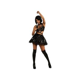 Rihanna Black Vinyl Concert Adult Costume Outfit Size Small