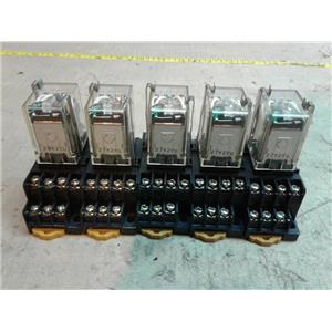 Omron MY4N-D2-DC24 RELAY 5AMP 24VDC COIL 4PDT 14BLADE w/ Relay Socket *Lot of 5*