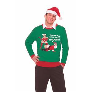 Ugly Christmas Sweater Funny Naughty Santa Unisex Holiday Size X-Large