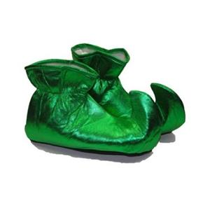 Green Satin Elf Shoes Christmas Costume Accessory