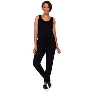 LOGO Lounge by Lori Goldstein Size M Black French Terry Sleeveless Jumpsuit