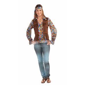Female Hippie Groovy Shirt, Vest, Headband Set