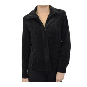 6 NWT Click Collection Womens Velvet Zip Black Collared Jacket/Blazer