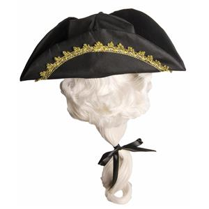 Child Tricorn Colonial Costume Hat with Attached White Wig