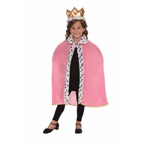 Child Pink Queen Robe and Crown Costume Accessory Set
