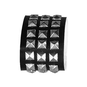 Forum Novelties Studded Wristband Black 3 Studded Rows