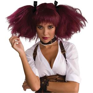 Steampunk Wig Burgundy with Bangs and fluffy Pigtails