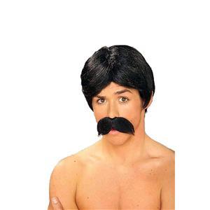 Forum Novelties Men's Burt The Bandit Novelty Black Wig and Mustache