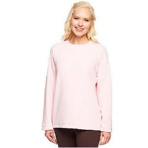 Denim & Co. Size 3X Soft Pink Baby Sherpa Crew Neck Sweatshirt