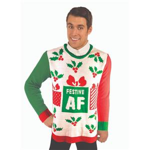 Forum Novelties Festive AF Ugly Christmas Sweater Size Large