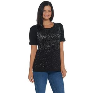 Quacker Factory 1X Black Elbow-Sleeve Metallic Sequin Scoop Neck Rib Knit Top