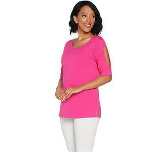 Quacker Factory Size 3X Ultra Pink Rhinestone Split Sleeve Knit T-shirt