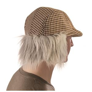 Old Man Child Flat Cap With attached Grey Hair Newsboy Hat