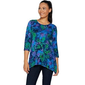 Denim & Co Size 1X Deep Marine Blue Brushed Heavenly Jersey Trapeze Floral Tunic