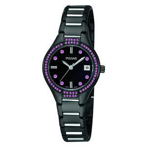 Pulsar Watch PH7291 Ladies Black/Silver Bracelet. Purple Crystals. 50% Off MSRP
