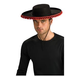 Black Felt Adult Spanish Hat with Pompoms