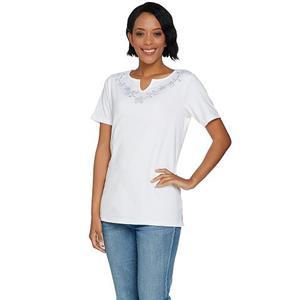 Quacker Factory Size 2X White Floral Rhinestone Split V-Neck Knit T-shirt
