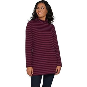 Denim & Co. Size 1X Deep Wine Brushed Heavenly Jersey Striped Mock Neck Tunic