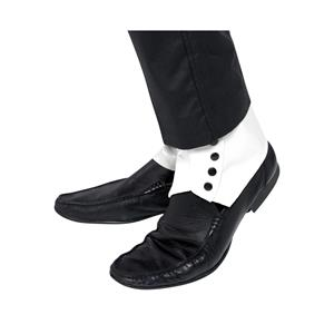 Smiffy's Men's White Gangster Shoe Cover Spats with Black Buttons