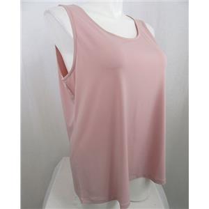 Susan Graver Essentials Size 1X Rose Blush Liquid Knit Tank with Scoop Neckline