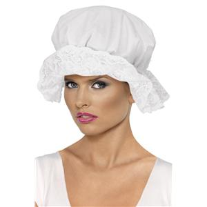 White Cotton Victorian Mop Cap with Lace Costume Accessory