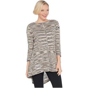 Susan Graver Size 1X Neutral Cotton Rayon Space Dye Lightweight Knit Top