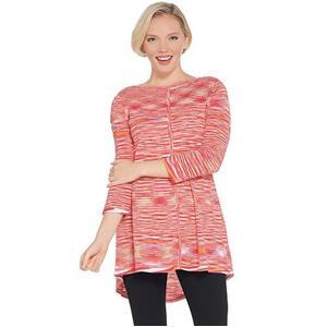 Susan Graver Size 1X Pink Cotton Rayon Space Dye Lightweight Knit Top