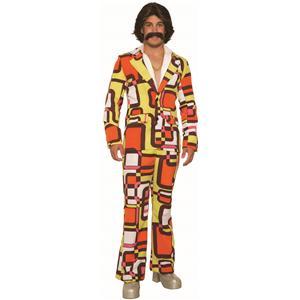 60s 70s Retro Orange Adult Leisure Suit Brady Bunch Costume