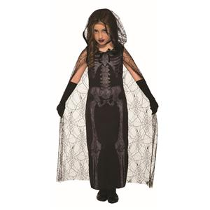 Graveyard Spirit Black Skeleton Dress Child Costume Size Large 12-14