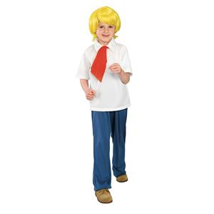 Scooby Doo: Fred Child's Costume Wig Shirt Pants Size Large 12-14
