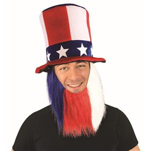 Patriotic Red, White and Blue Uncle Sam Top Hat and Beard